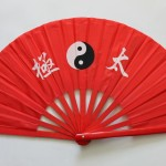Red fan with design
